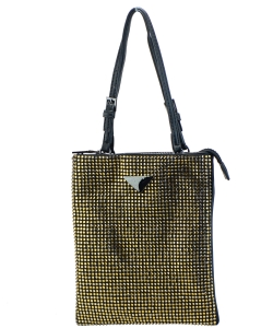 Leather-Trimmed Crystal-Embellished Nylon Mini Bag 6454 GOLD