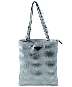 Leather-Trimmed Crystal-Embellished Nylon Mini Bag 6454 SILVER
