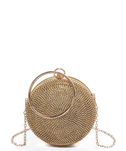 Rhinestone Circle Iconic Clutch Bag 6468 GOLD