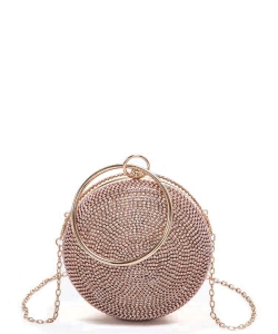 Rhinestone Circle Iconic Clutch Bag 6468 ROSEGOLD