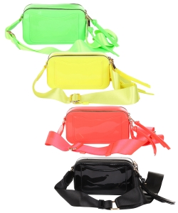 Package of 6 Pieces Double Zip Fashion Crossbody Bag 6470