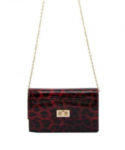 GLossy Leopard Print Crossbody Bag 6489 RED