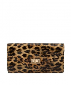Glossy Leopard Print Envelope Clutch Crossbody Bag 6490 Nude