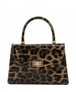Glossy Leopard Print Handle and Crossbody Bag 6491 Khaki