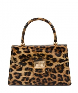 Glossy Leopard Print Handle and Crossbody Bag 6491 Nude
