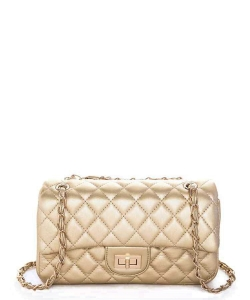 Quilted Classic Turn Lock Shoulder Bag 6503 GOLD