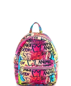 Graffiti Print Backpack 6520 A