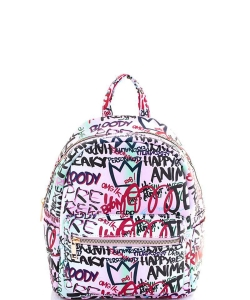 Graffiti Print Backpack 6520 B