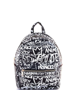 Graffiti Print Backpack 6520 C