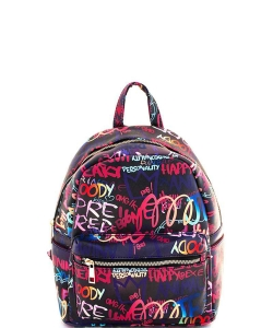 Graffiti Print Backpack 6520 D