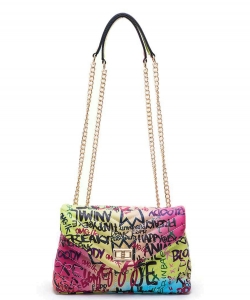 Graffiti Chevron Quilted Shoulder Bag 6528 MULTI A