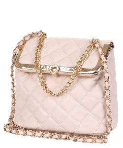Quilted Twislock Crossbody Bag 6583 APRICOT
