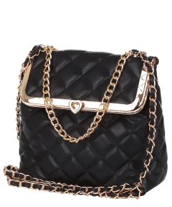 Quilted Twislock Crossbody Bag 6583 BLACK