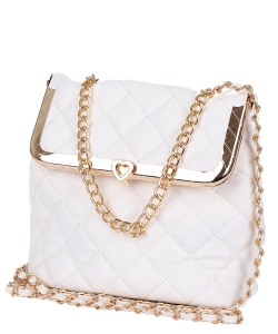 Quilted Twislock Crossbody Bag 6583 WHITE