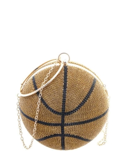 Giant Rhinestone Basketball with Handle Crossbody Bag 6590 GOLD