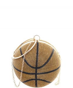 Medium Rhinestone Basketball with Handle Crossbody Bag 6593 GOLD