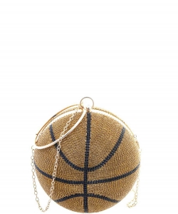 Small Rhinestone Basketball with Handle Crossbody Bag 6592 GOLD