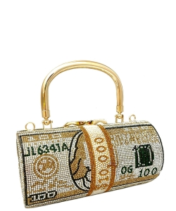 Rhinestone Dollar Clutch 6591 GOLD