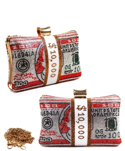 Stack of Cash Dollar Evening Clutch 6601 RED