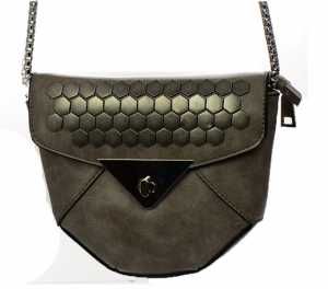 Faux Leather Clutch Purse 66102 Brown