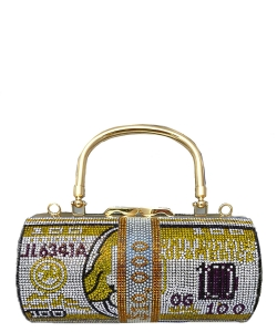 Large Rhinestone Dollar  Clutch 6613 GOLD