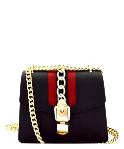 Chain Accent Matte Jelly Shoulderbag 7001  BLACK