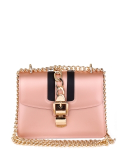 Chain Accent Matte Jelly Shoulderbag 7001  ROSEGOLD