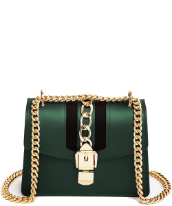 Chain Accent Center Striped Matte Jelly Shoulder Bag 7001-LP GREEN