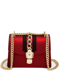 Chain Accent Center Striped Matte Jelly Shoulder Bag 7001-LP RED