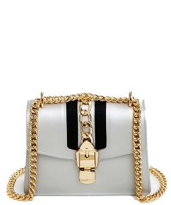 Chain Accent Center Striped Matte Jelly Shoulder Bag 7001-LP SILVER