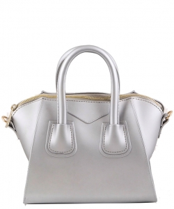 Shimmery Jelly Convertible Hand Bag 7009 Silver