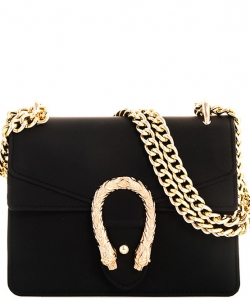 Fashion Chic Snake Buckle Jelly Crossbody Bag 7016 BLACK