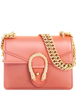 Fashion Chic Snake Buckle Jelly Crossbody Bag 7016 ROSEGOLD