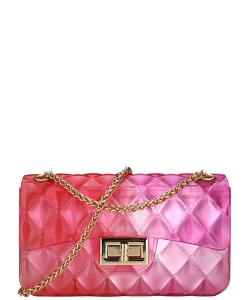 Two Tone Quilted Style Small Jelly Crossbody 7031 ROSERED