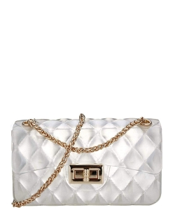 Two Tone Quilted Style Small Jelly Crossbody 7031 WHITE