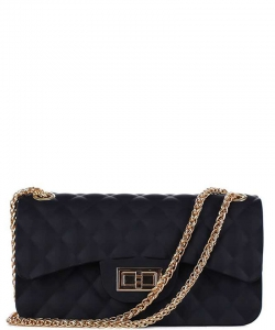 Quilted Style Matte Jelly Small  Crossbody Bag 7032 BLACK