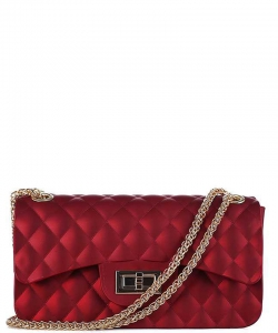 Quilted Style Matte Jelly Small  Crossbody Bag 7032 WINE