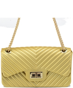 Cute Hot Trendy Chevron Large Jelly Bag 7042 GOLD