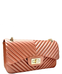 V Quilted Pattern Jelly Crossbody Bag 7042 ROSEGOLD