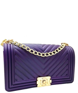 Chevron Clutch Purse Crossbody Bag 7044 PURPLE