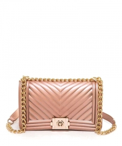 Chevron Clutch Purse Crossbody Bag 7044 ROSEGOLD