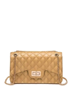 Cute Trendy Soft Jelly Cross body Bag 7046 GOLD