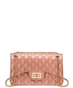 Cute Trendy Soft Jelly Cross body Bag 7046 ROSEGOLD