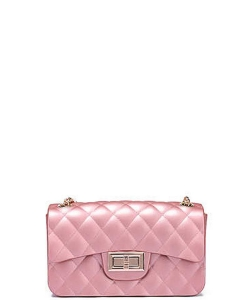 Quilted Matte Jelly Small Crossbody  7047 ROSEGOLD