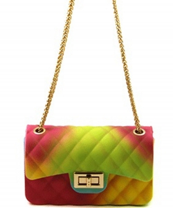Rainbow Quilted Jelly Mini Crossbody 7058 A