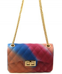 Rainbow Quilted Jelly Mini Crossbody 7058 E