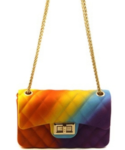 Rainbow Quilted Jelly Mini Crossbody 7058 J