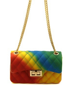 Rainbow Quilted Jelly Mini Crossbody 7058 K