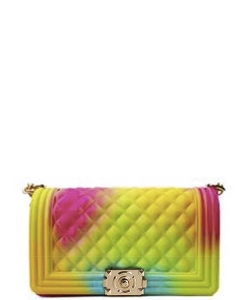 Mix Tone Textured Jelly Shoulder Bag  7061 RAINBOW A