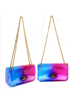 Dual Tone Chevron Embossed Jelly Crossbody Bag 7062 BLUE/PURPLE